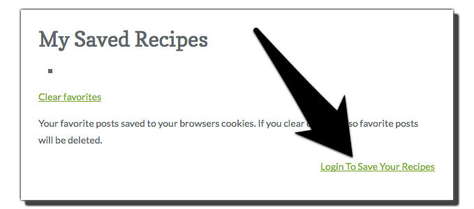 my saved recipes login example