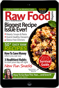 Raw food magazine issue with raw food recipes