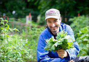 raw food chef adam graham in his garden